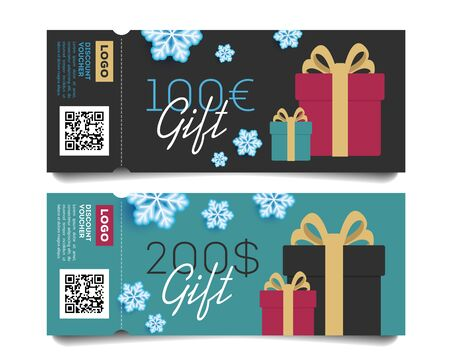 Gift voucher layout template with monetary award and gift boxes in winter snowflakes illustration. Special offer for the customer.