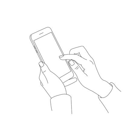 drawn sketch illustration of human hand using or holding big smart mobile phone, scrolling the screen, isolated