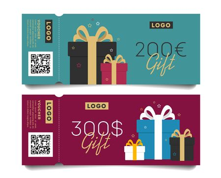 Gift voucher layout template with monetary award and gift boxes illustration. Special offer for the customer. Illusztráció