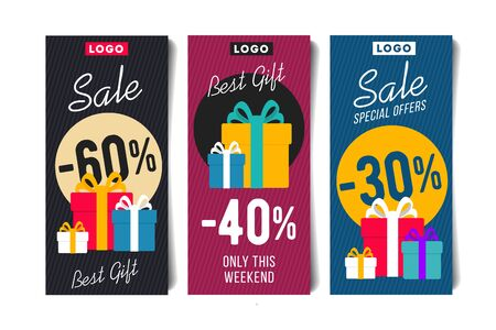 Gift Voucher Flyer Vertical Set Template with Present Box and discounts Promotion Element. Vector illustration