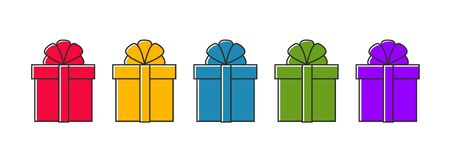 vector set of colorful gift box symbols illustrations, holiday present wrapped with a bow