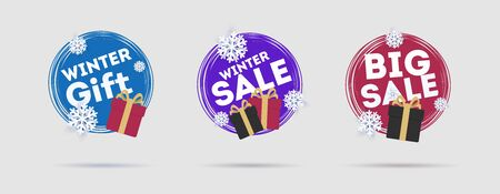 Set of promotion tags or stickers with gift boxes and snowflakes in circle shape Ilustracja