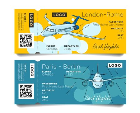 Airplane boarding pass, admission ticket to the plane, two options of design with plane illustration Illusztráció