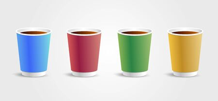 Vector realistic 3d paper disposable cup, set of illustrations, closeup isolated on white background. Design template for graphics, mockup. Front view