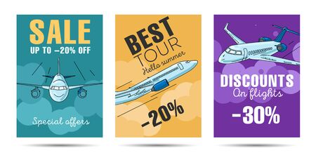 Set of posters for aircraft company with flying airplane in the sky vector set. Illustration of airplane from different sides, travel tour discounts