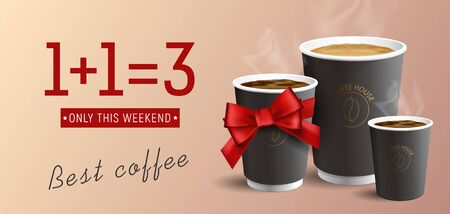 Coffee to Go advertising poster buy two get three cups, one as gift with red ribbon bow, realistic illustration