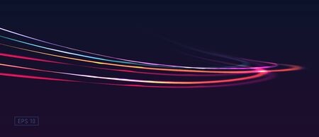 Abstract vector background with light glow lines in speed motion composition Ilustracja