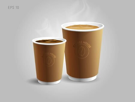 Illustrations of two paper coffee cups to go with cappuccino and espresso or americano, realistic 3d graphic