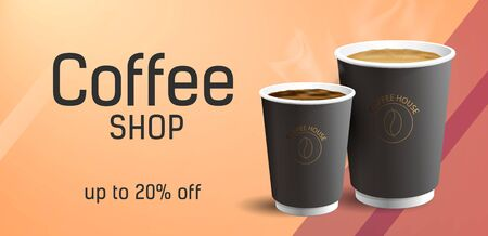 Coffee to Go Poster Concept with two realistic cofee paper cups illustrations and typography with discount