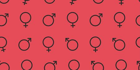 Gender male and female symbol icon seamless pattern