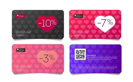 Set of discout cards for Valentines Day promo with heart simple pattern and sale per cent in heart shape, vouchers, other printed and web materials.
