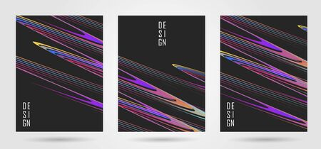 Set of poster design template with curved lines composition Ilustracja