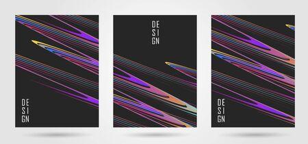 Set of poster design template with curved lines composition Ilustração