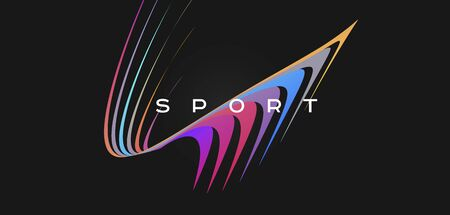 Dynamic composition of curved colour lines in space for sport