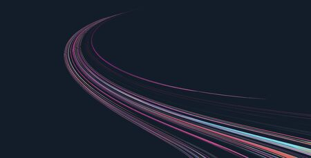 Abstract motion design element, fluid curved lines forming race or road path shape, dynamic lights
