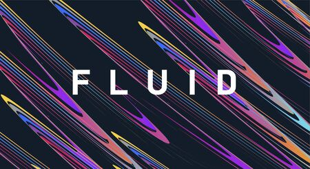 Abstract background of fluid elements forming wavy texture of curved coloured lines with design typography on dark background