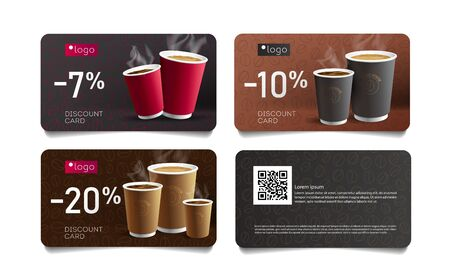Discount card or voucher template design for cafe with coffee cups illustrations
