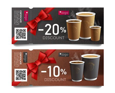 Discount card or voucher template design for cafe with coffee cups illustrations and red gift bow