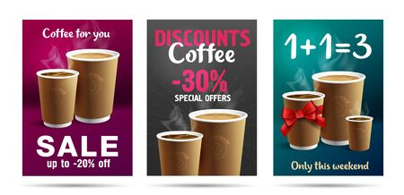 Promotion set of posters or flyers template design for cafe with coffee cups illustrations, buy one get three with red ribbon gift bow or discounts