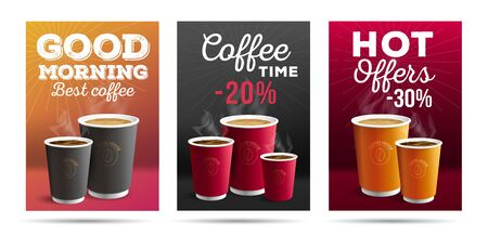 Promotion set of flyer template design for cafe with coffee cups illustrations, with motivation quotes and big typography