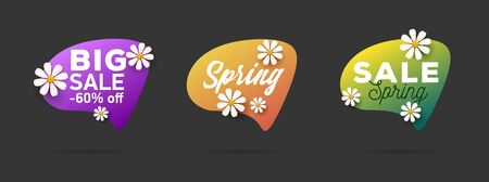 Spring sale labels set with promo text, daisy flowers on speech bubbles. Advertising sale element badges, banners, tag. Isolated