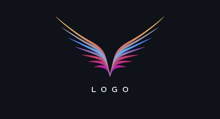 Abstract  design element, colour lines forming wings of a bird symbol icon