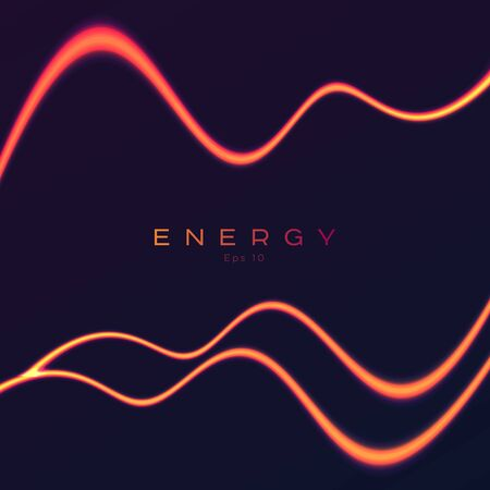 Energy glowing neon orange light lines, abstract background with design element