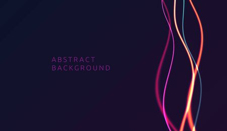 Vector design element of neon light lines shining in the dark, abstract background