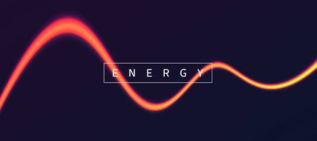 Energy light wave, vibrant glowing neon line with text, abstract background on the dark backdrop Ilustracja