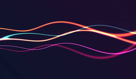 Abstract background with horizontal glowing neon lines forming energy wave