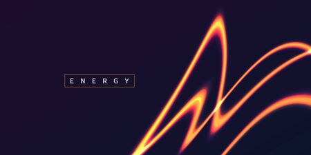 Energy glowing neon orange light lines, abstract graphic element, fire flare shape