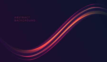 Abstract background with curved shiny fire wave as design element