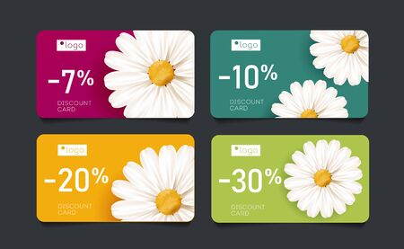 Set of discount cards with Bright spring blossom of chamomile flowers with percent off