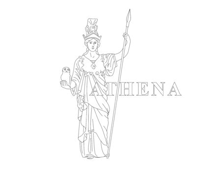 Athena. Greek Goddess of reason, wisdom, intelligence, skill, peace, warfare, battle strategy, and handicrafts. Editable line drawing illustration with antiqua text Vettoriali