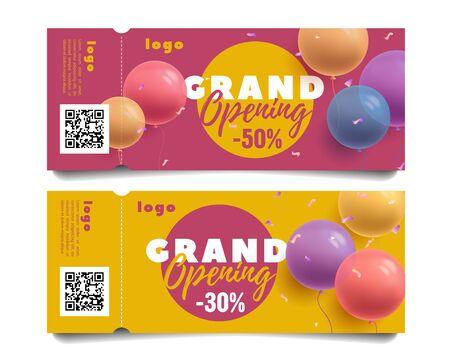 Set of invitation flyers or tickets for grand opening of shop or event with discount, round shape balloons 3d vector illustration and typography with torn-off side and qr code Vecteurs