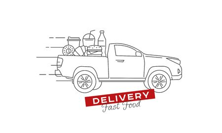 Food delivery truck full of food on the pick up truck body moving with fast speed. Line vector illustration with promo text for fast food courier service