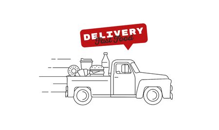 Food delivery old-fashioned retro truck full of food on the pick up truck body moving with fast speed to the customer. Line vector illustration with promo text for fast food courier service promo banner