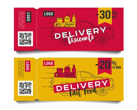 Discount voucher for fast food restaurant or delivery service, template design with truck car ful of food and drinks menu line illustration layout compisition