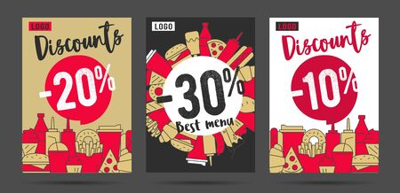 Advertising promo sale posters or banners for fast food restaurant or delivery service with simple line illustrations of food and drinks and discounts