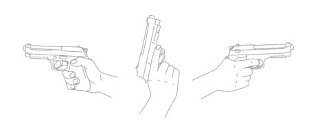 Set of three line illustrations of hand holding gun side view and pointing up view, simple linear realistic graphic