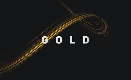 Golden lines forming fluid loop in 3d space, abstract energy metal digital composition with text gold