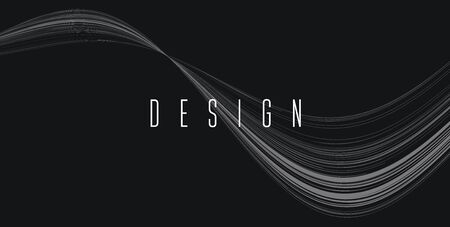 Abstract wave background, fluid lines forming curve, artistic white and black composition with design text