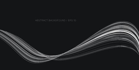 Abstract monochrome background, fluid thin lines forming curve, artistic white and black composition, graphic element