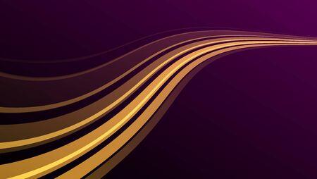 Golden wave on purple background, pdth raising over the horizon, abstract garphic design element Ilustración de vector
