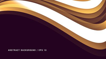 Background with elegant gold with white curve on dark backdrop with place for copy, graphic element, cover  イラスト・ベクター素材