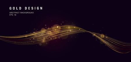 Golden shiny lines forming curve in 3d space, shiny graphic element glowing on dark backdrop, abstract