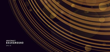 Golden rings in 3d space, shiny lines forming round texture wallpaper
