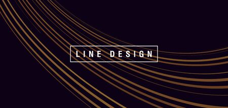 Abstract composition with golden wave flowing down and forming texture of lines, presentation cover wallpaper