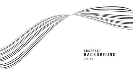 White and black abstract curve made of lines, artistic contrast composition, graphic design wallpaper cover 일러스트