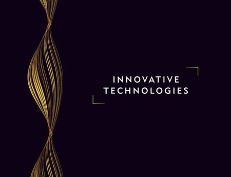 Innovative technologies abstract poster with golden lines forming science moleculas composition, cover or wallpaper